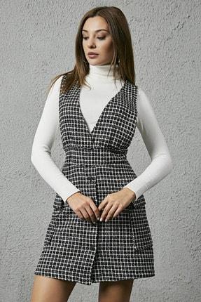 Sateen Jile Tüvit Elbise - Siyah 2