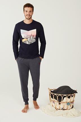 US Polo Assn Erkek Lacivert Yuvarlak Yaka Pijama Takım 18230 0
