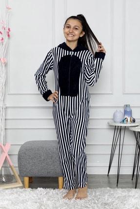 nisaNCa Desenli Kışlık Kız Çocuk Polar Tulum Pijama Takımı 1