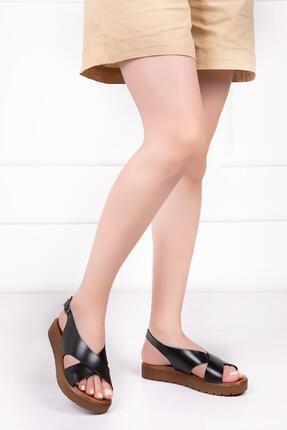 Deripabuc Hakiki Deri Siyah Kadın Deri Sandalet Dp-1069 0