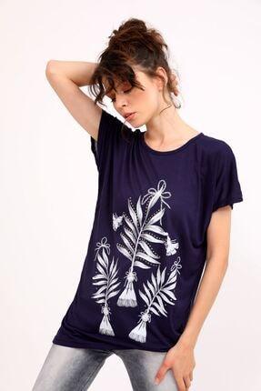 metropol tekstil Krt-050 Desenli Tshirt Lacivert 2