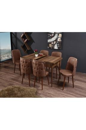 Ervo Venüs Premier Yemek Masa Takımı 6 Sandalyeli – Kahverengi 1