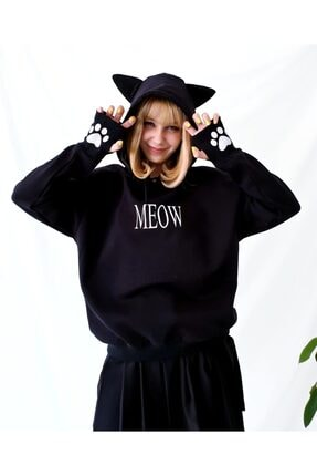 Carpe Meow Kedi Kulaklı Sweatshirt 0