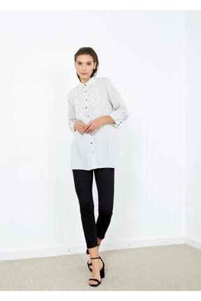 Adze Kadın Beyaz Çizgili Gömlek Tunik Beyaz Xs 1