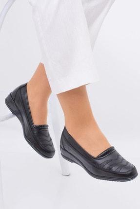 MelikaWalker Full Comfort Ortopedik Taban Bayan Ince Çizgili Siyah Anne Ayakkabısı 1