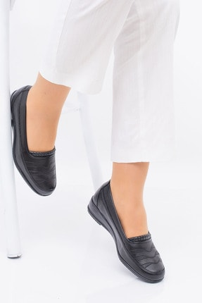 MelikaWalker Full Comfort Ortopedik Taban Bayan Ince Çizgili Siyah Anne Ayakkabısı 2