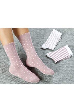 English Home Colourful Pamuk Kadın Çorap Beyaz - Pembe 0