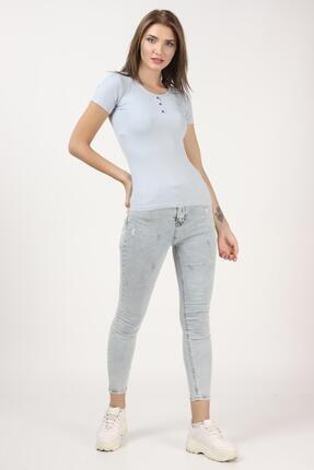 Tena Moda Kadın Açık Mavi Kısa Kollu Kaşkorse Önü Batlı Bluz 4