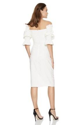 Fervente Beyaz Abiye Krep Kısa Kol Mini Nişan Elbise 1