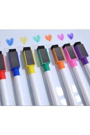 Dünya Magnet 12 Adet Karışık Renkli Mıknatıslı Silgili Akıllı Tahta Kalemi - Silinebilir Beyaz Tahta Kalemi 1