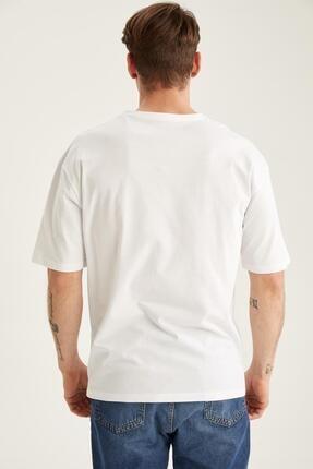 Defacto Erkek Oversize Fit Bisiklet Yaka Baskılı Tişört 3