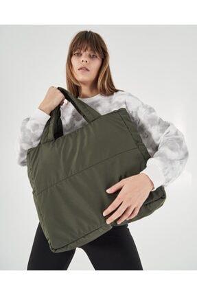 Shule Bags Kabartmalı Puf Kumaş Shopper Çanta Napoli Haki 0
