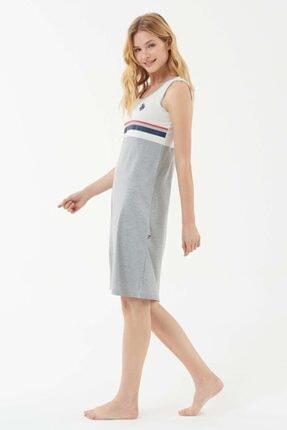 US Polo Assn Kadın Gri Melanj Elbise 1