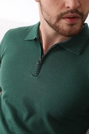 Ferraro Erkek Yeşil Polo Yaka Fermuarlı Pamuk Triko T-shirt 1