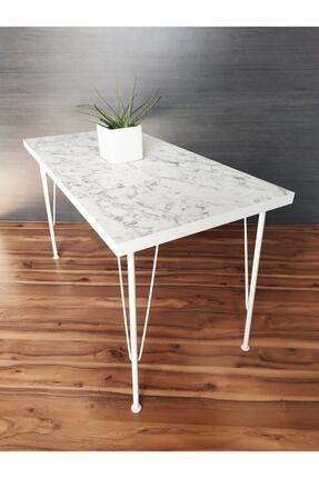 Sedef Beyaz Mermer Desenli Metal Beyaz Ayaklı Mutfak Masası 60x120 0