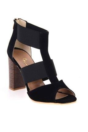 Bambi Siyah Süet Kadın Klasik Topuklu Ayakkabı K01525012272 2