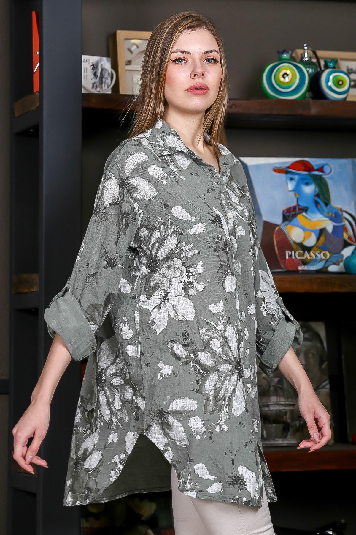 Chiccy Kadın Yeşil İtalyan Çiçek Desenli 3/4 Kol Ayarlı Yanı Yırtmaçlı Tunik Gömlek M10010400GM99439 2
