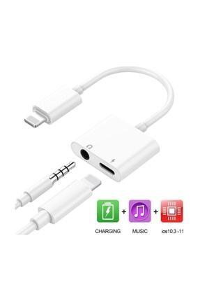 Alfais 4420 Lightning Uyumlu Kulaklık Şarj Çevirici Dönüştürücü Adaptör Aux Kablosu Iphone 7 8 X Xr 11 Plus 1