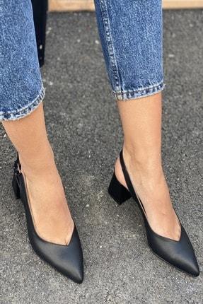 İnan Ayakkabı Sivri Burun Arkası Açık Topuklu Ayakkabı 2
