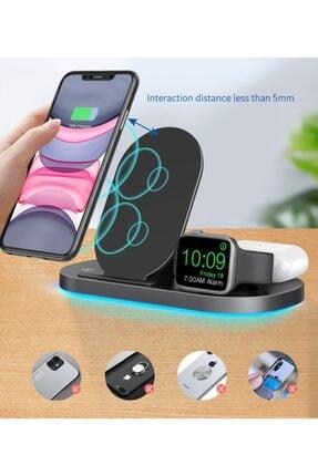 MARSTEC 3 In 1 Apple Watch Samsung Iphone Airpods 15 Watt Kablosuz Beyaz Dock Stand Hızlı Şarj Istasyonu 3