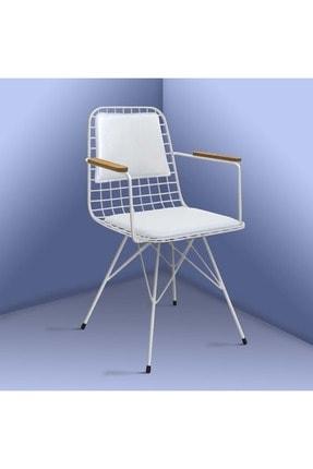 Theia Tasarım Kolçaklı Ve Sırt Minderli Beyaz Tel Sandalye 1