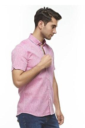 Otto Moda Kısa Kollu Keten Gömlek Pink 2