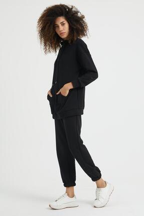 Giyinsende Kadın Siyah Fermuarlı Kanguru Cep Eşofman Takımı 4