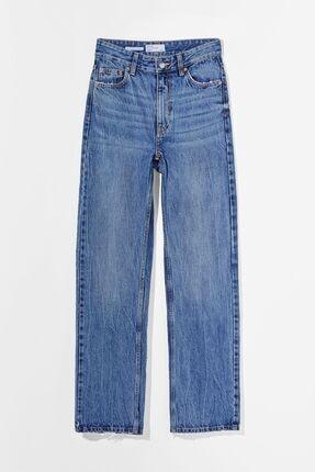 Bershka Straight Fit Yüksek Bel Jean 0