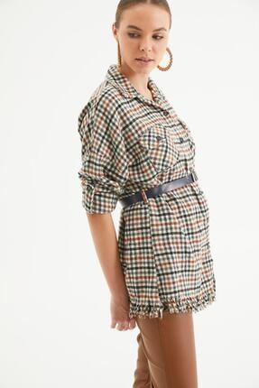 Reyon Kadın  Siyah Kare Pamuklu Kemerli Çift Cep Etek Saçaklı Ekose Oduncu Gömlek 3