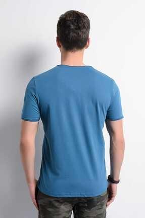Rodi Jeans Rodi Rd19ye279979 Petrol Erkek Fırçalı Süprem Bisiklet Yaka T-shirt 2