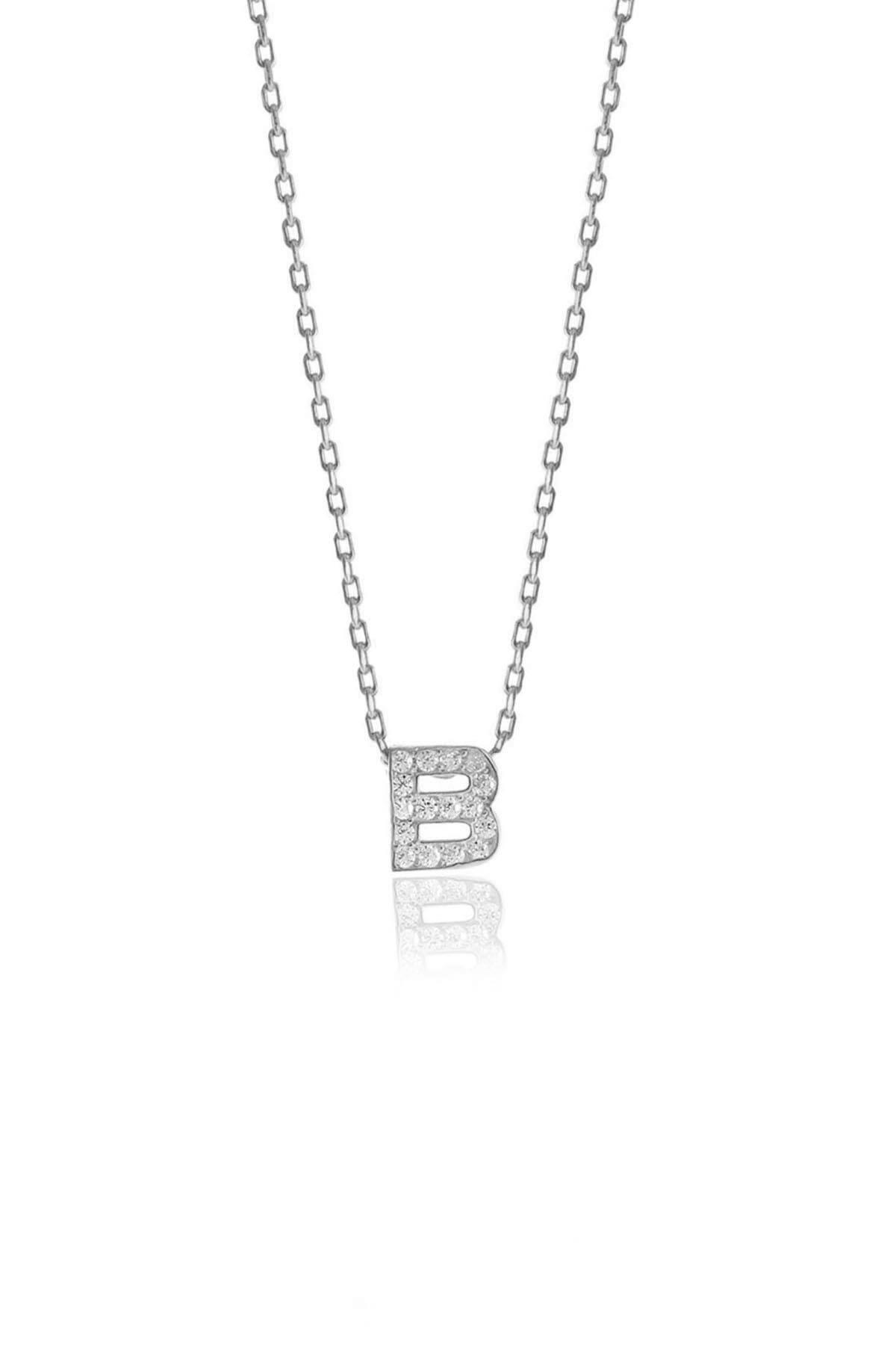 Söğütlü Silver Gümüş  Rodyumlu Üç Boyutlu Minimal B Gümüş Harf Kolye 0
