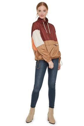 Vero Moda Kadın Bordo Renk Bloklu Büzme Detaylı Kanguru Mont 10224733 VMNANCY 1