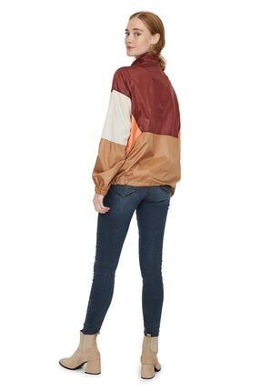 Vero Moda Kadın Bordo Renk Bloklu Büzme Detaylı Kanguru Mont 10224733 VMNANCY 2