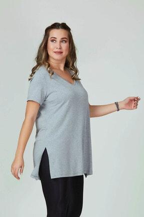 Büyük Moda Kadın Gri V Yaka Basıc Tişört 1