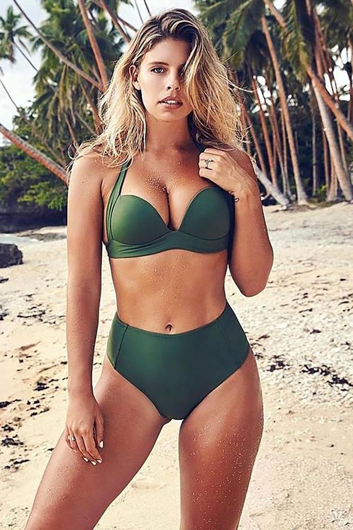 Kadın Yeşil Yüksek Bel Bikini Takım