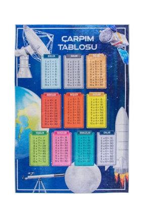 Colizon Dekoratif Kaymaz Tabanlı Çarpım Tablosu Uzay Çocuk Halısı 1