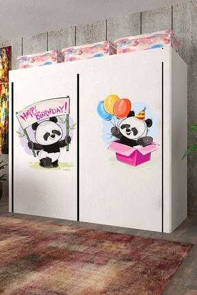 CimriKese Geniş Hacimli Çift Askılı Panda Ailesi Baskılı Bez Dolap 0