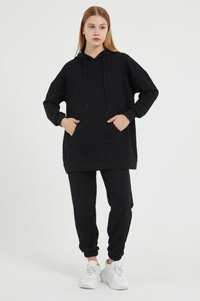 Giyinsende Kanguru Cep Eşofman Takımı Siyah 0
