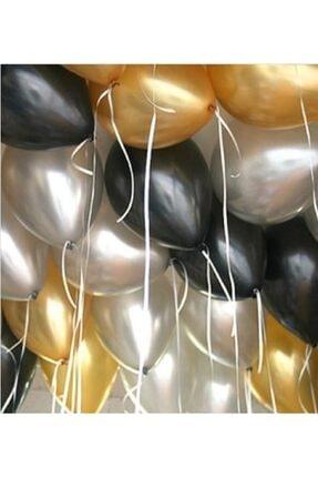"""Deniz Party Store Metalik Balon 12 """" Inç 25 adet Metalik Gri Gold Pastel Siyah Set 0"""