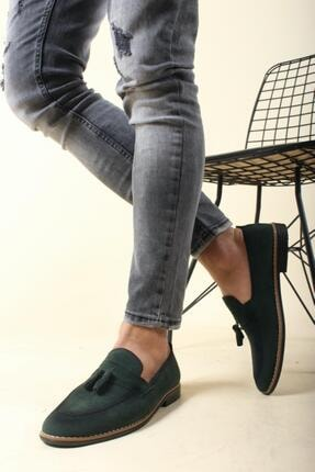 Oksit Erkek Yeşil Püskülü Loafer Ayakkabı 0