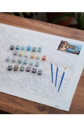 3D Art Sayılarla Boyama Tablo Seti Kanvas Fırça Boya Dahil 40x50 CM - Göl Manzarası 1