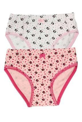 ÖZKAN underwear Kız Çocuk Beyaz Pembe 2'li Paket Külot  41016 0