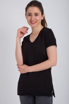 Kadın Modası Kadın Siyah V Yaka Alt Kesik Yırtmaçlı T-shirt 0