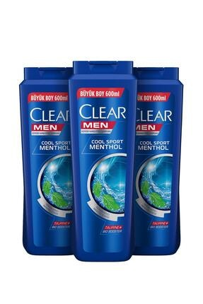 Clear Men Cool Sport Menthol Erkek Şampuan 600 ml X3 1