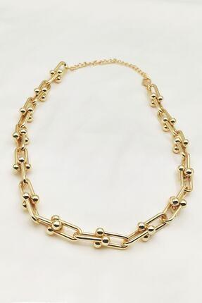 Lolita Takı Kadın Altın Sarısı Renk Kalın Zincir Kolye 0