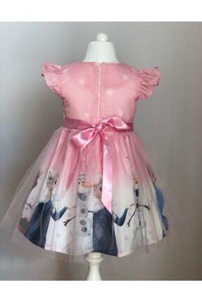 Buse&Eylül Bebe Kız Çocuk Pembe Elsa Karlar Kraliçesi Elbisesi 1