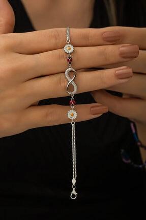 Papatya Silver Sonsuzluk Papatya Uğur Böceği Renkli Mineli Rodyum Kaplama 925 Ayar Gümüş Bileklik 2