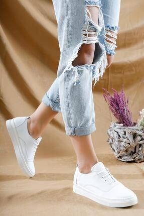 Deripabuc Hakiki Deri Beyaz Kadın Deri Sneaker Vns-m01 1