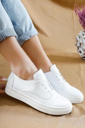 Deripabuc Hakiki Deri Beyaz Kadın Deri Sneaker Vns-m01 3