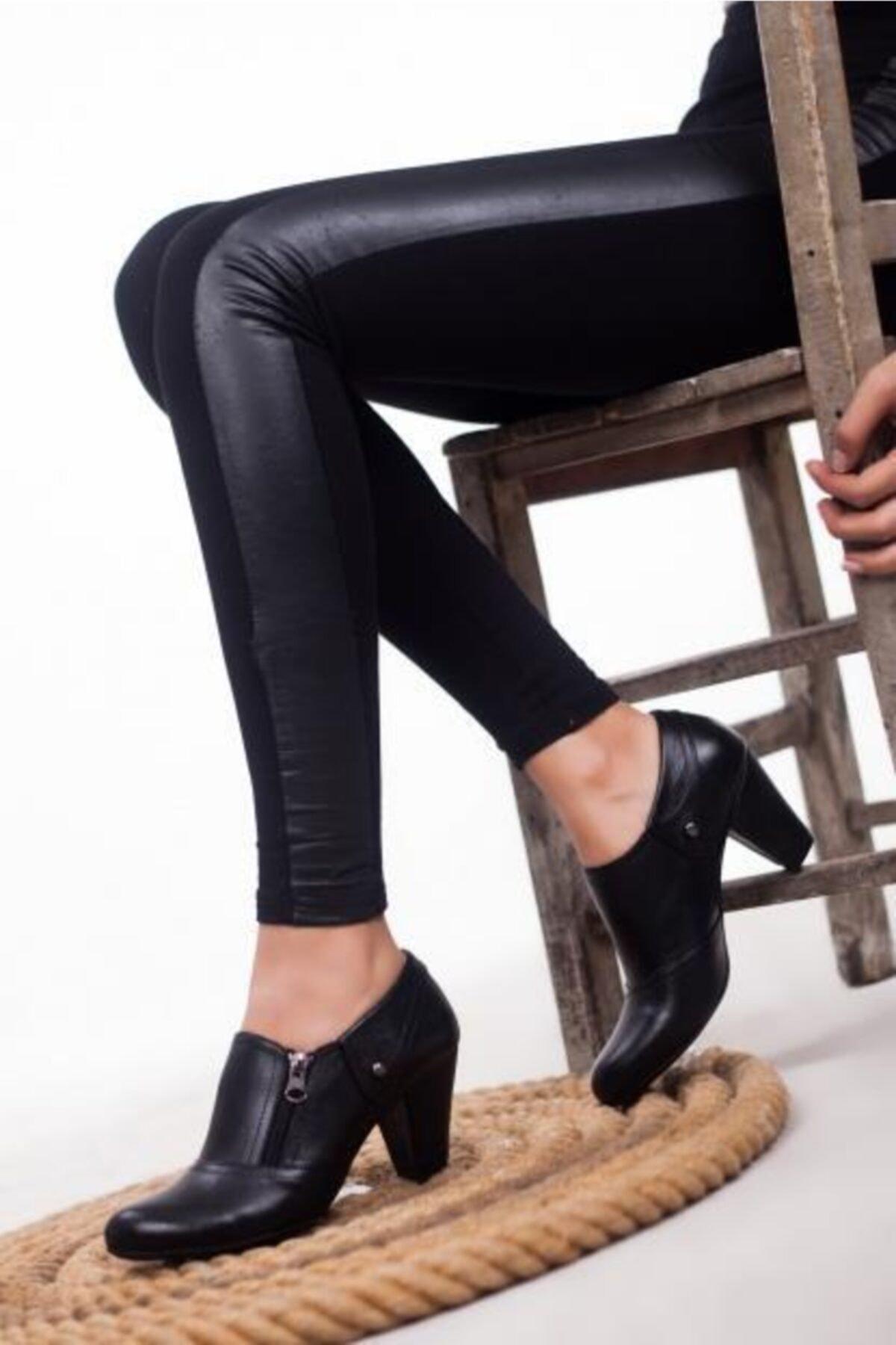 Hakiki Deri Siyah Kadın Topuklu Deri Ayakkabı Trc-1069